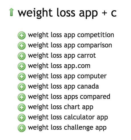 Weight Loss App - Ubersuggest Results C