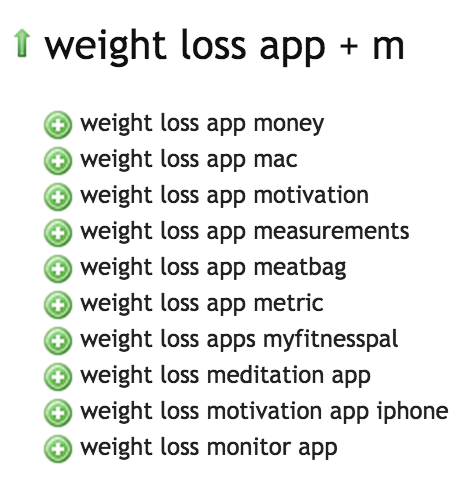 Weight Loss Apps - Ubersuggest Results M