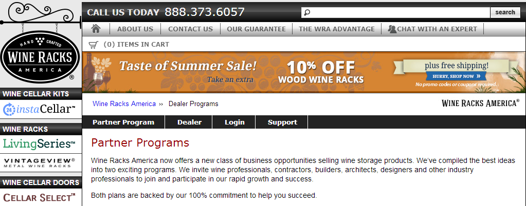 Wine Racks America - Wine Accessories Affiliate Programs