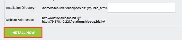Wordpress Install Now Button