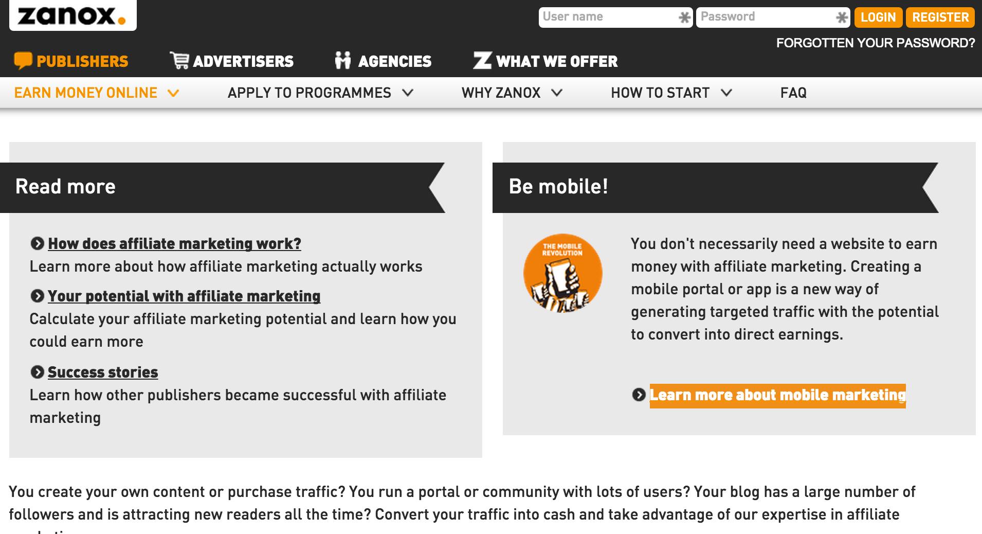 Zanox - Mobile App Affiliate Programs