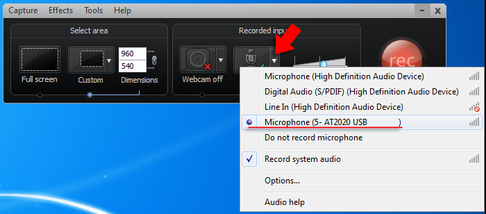 microphone select