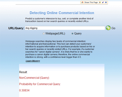 Screenshot showing MSN's Commercial Intention Tool