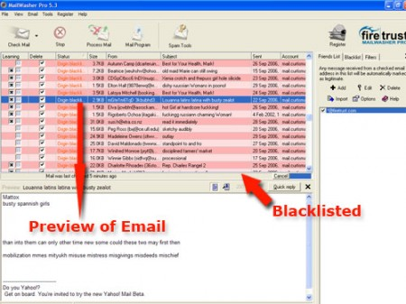 MailWasher Pro Anti Spam Software Screenshot