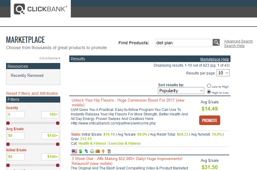ClickBank results for