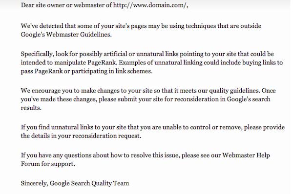 Google unnatural links notification