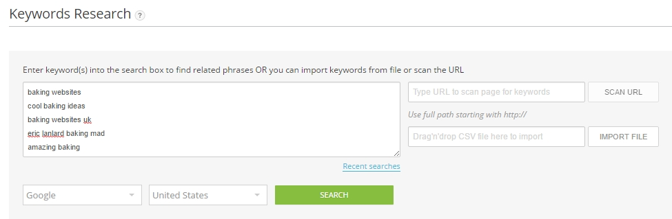 Performing keyword research in AffiloTools