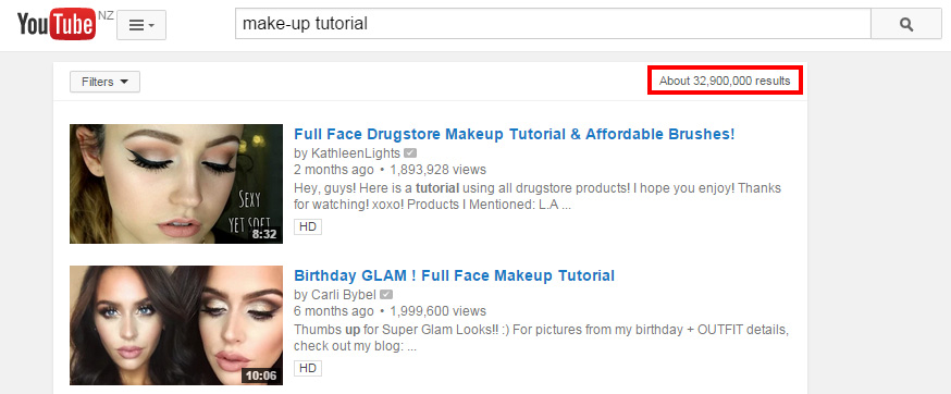 make-up tutorial on YouTube
