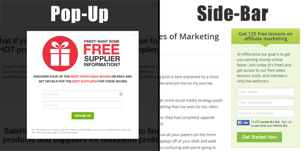 pop-up and sidebar