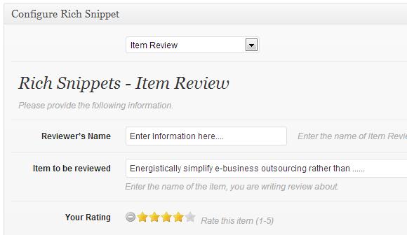 configure item review rich snippet