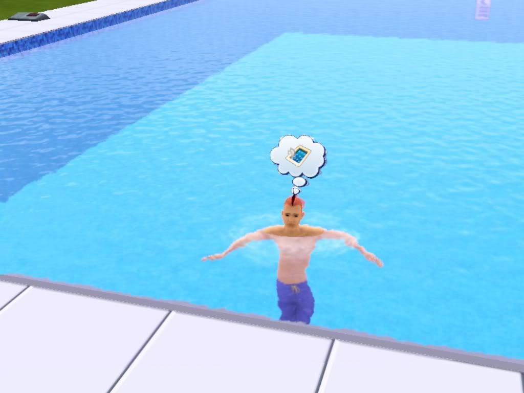 sim in pool no ladder