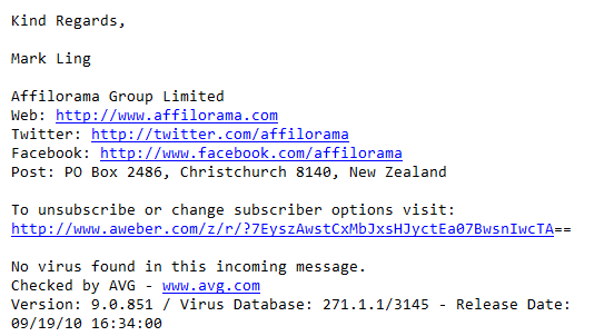 Unsubscribe link for Affilorama emails