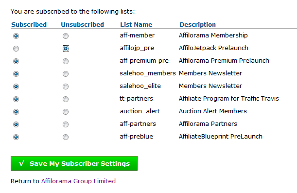Unsubscribe to a list