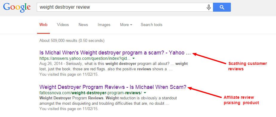 weight destroyer in Google