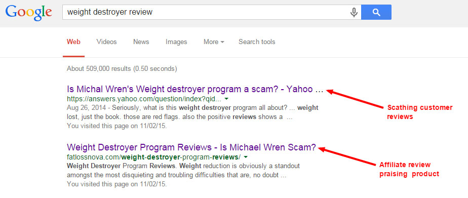 weight destroyer in Google