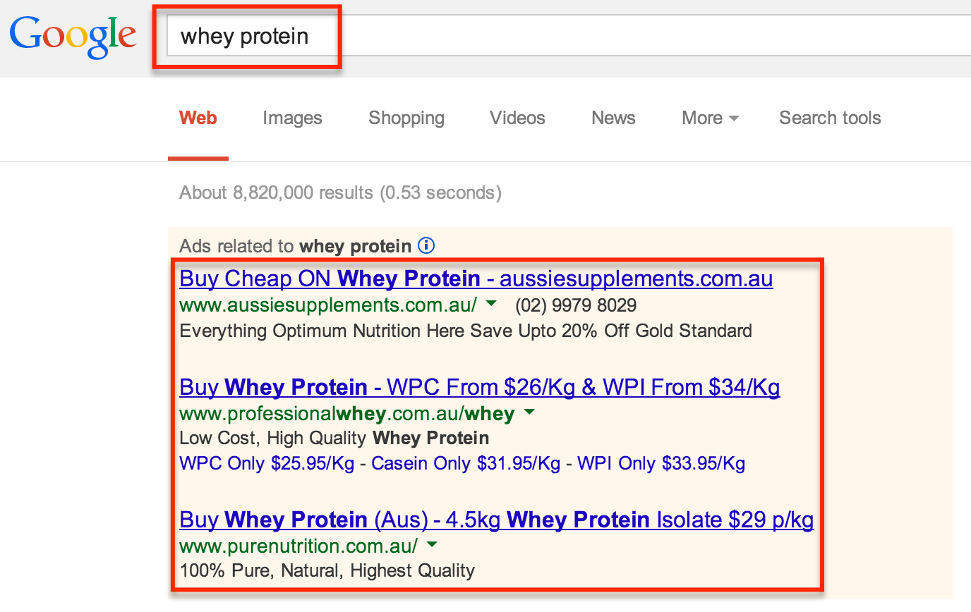 whey protein ads